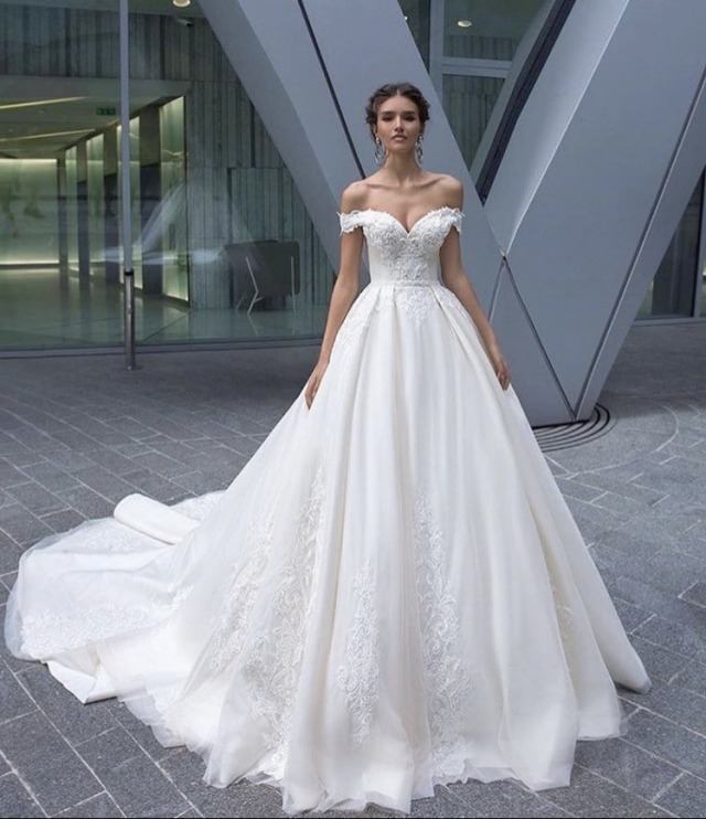 A-Line and Low Shoulder Wedding Dress M-2239