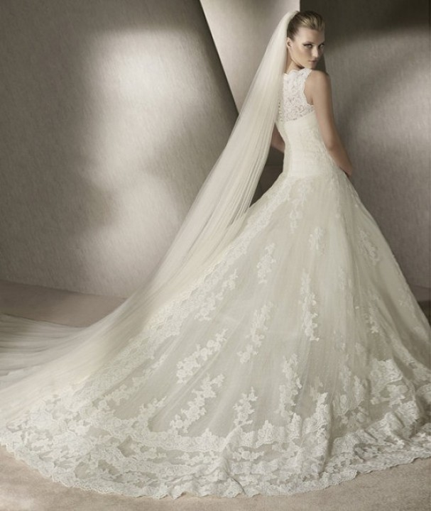 A-Line, Illusion - Sheer and Lace Wedding Dress M-169