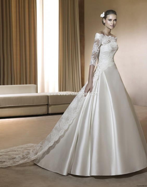 A-Line and Illusion - Sheer Wedding Dress M-173