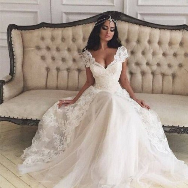 A-Line, Sweetheart, Lace and Say Yes To The Dress Wedding Dress M-1329