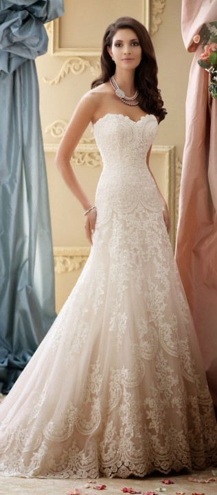 A-Line and Strapless Sweetheart Wedding Dress M-1336