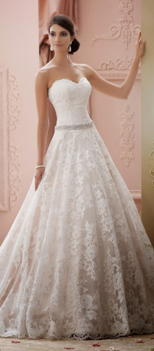 A-Line, Strapless Sweetheart and Lace Wedding Dress M-1337