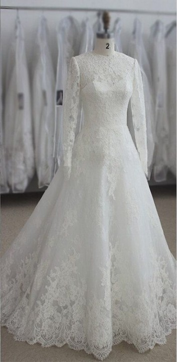 A-Line, Sleeves, Hijab and Lace Wedding Dress M-1358
