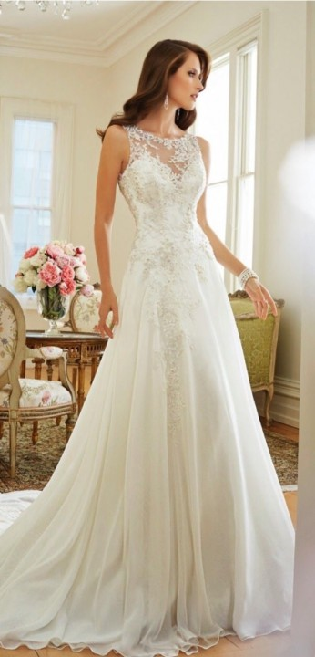 A-Line, Illusion - Sheer and Strapless Sweetheart Wedding Dress M-1532