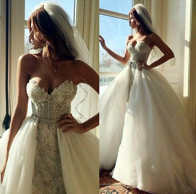 Ball Gown, Strapless Sweetheart, Veil and Fluffy Wedding Dress M-1624
