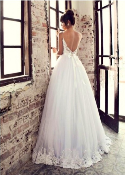 A-Line, Sweetheart, Strapless Sweetheart, Backless, Lace Back, V Back, Back Details and Tulle Wedding Dress M-1696