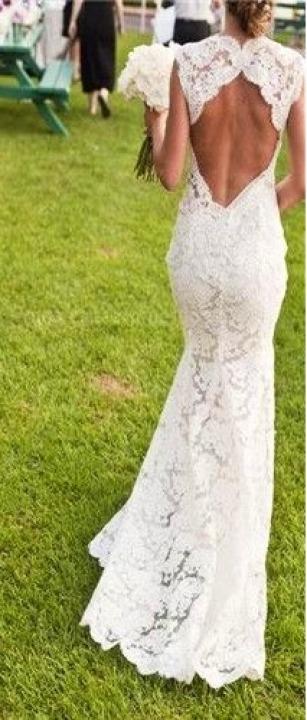 Mermaid, Lace and Backless, Lace Back, V Back, Back Details Wedding Dress M-1701
