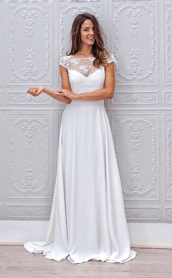 Sheath and Illusion - Sheer Wedding Dress M-2026