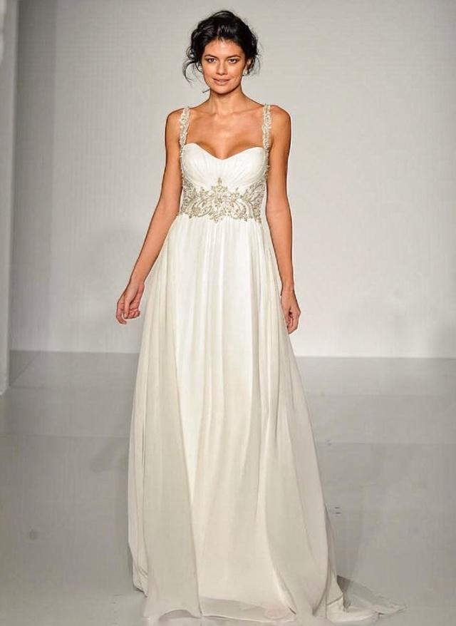 Chiffon und Carré-Ausschnitt Brautkleid M-2066