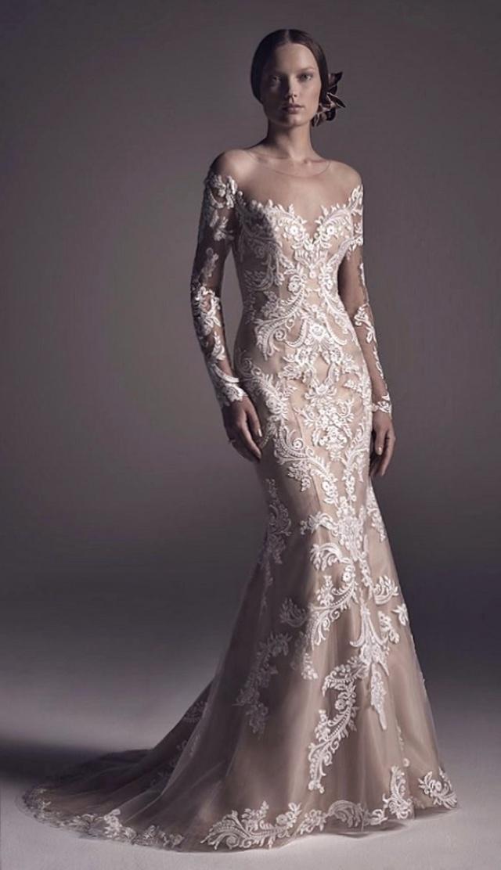 Sheath, Sleeves and Lace Wedding Dress M-2151