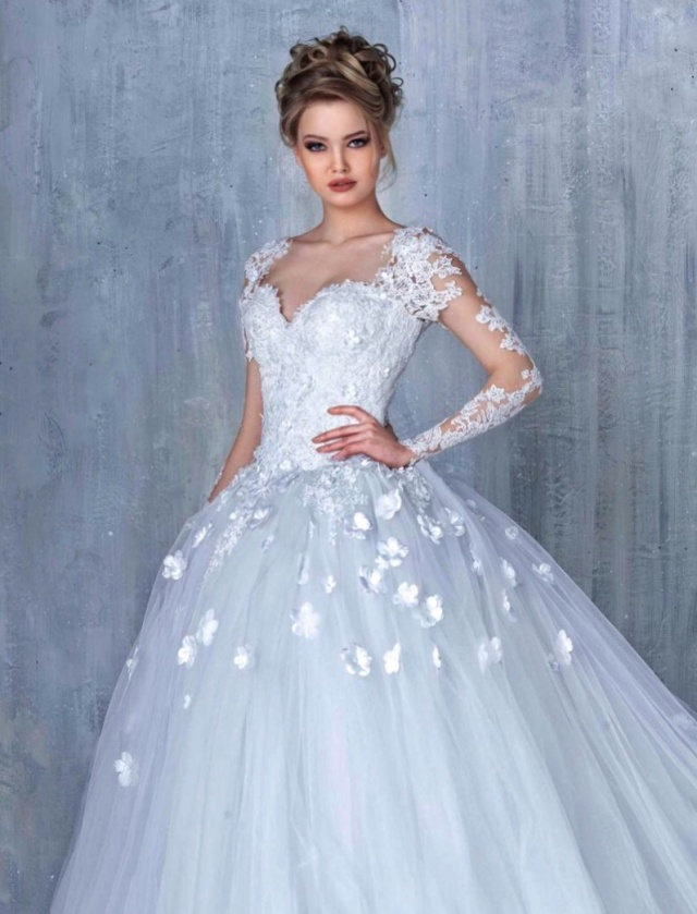 Ball Gown and Sleeves Wedding Dress M-2189