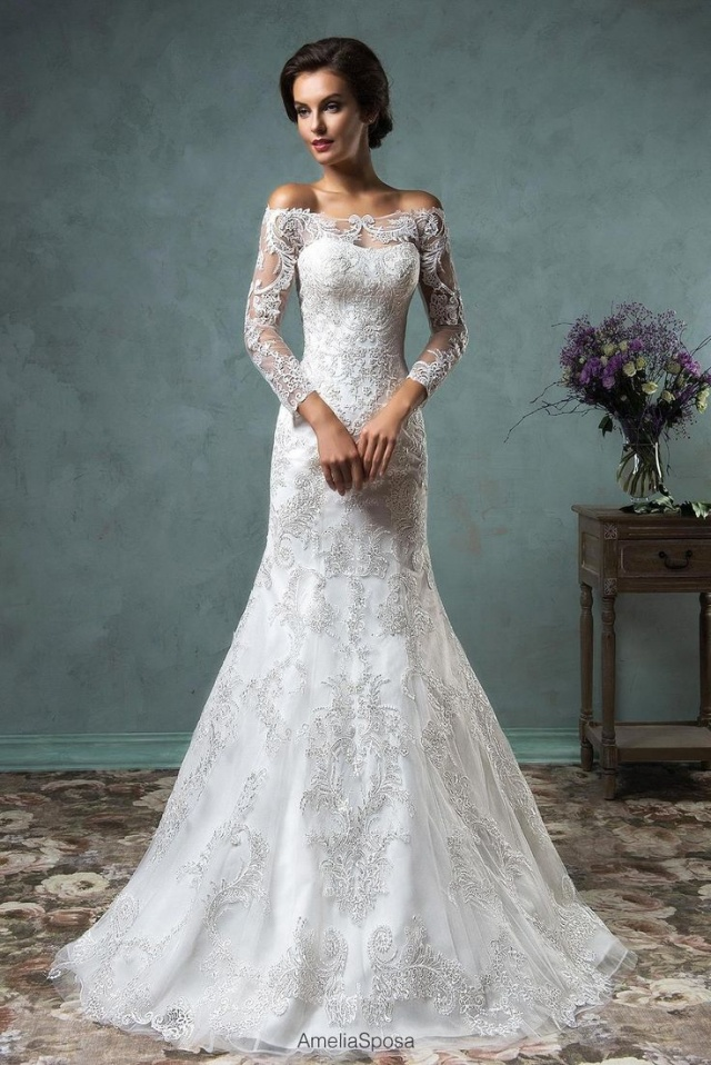 Sleeves, Off The Shoulder, Lace and Say Yes To The Dress Wedding Dress M-2224