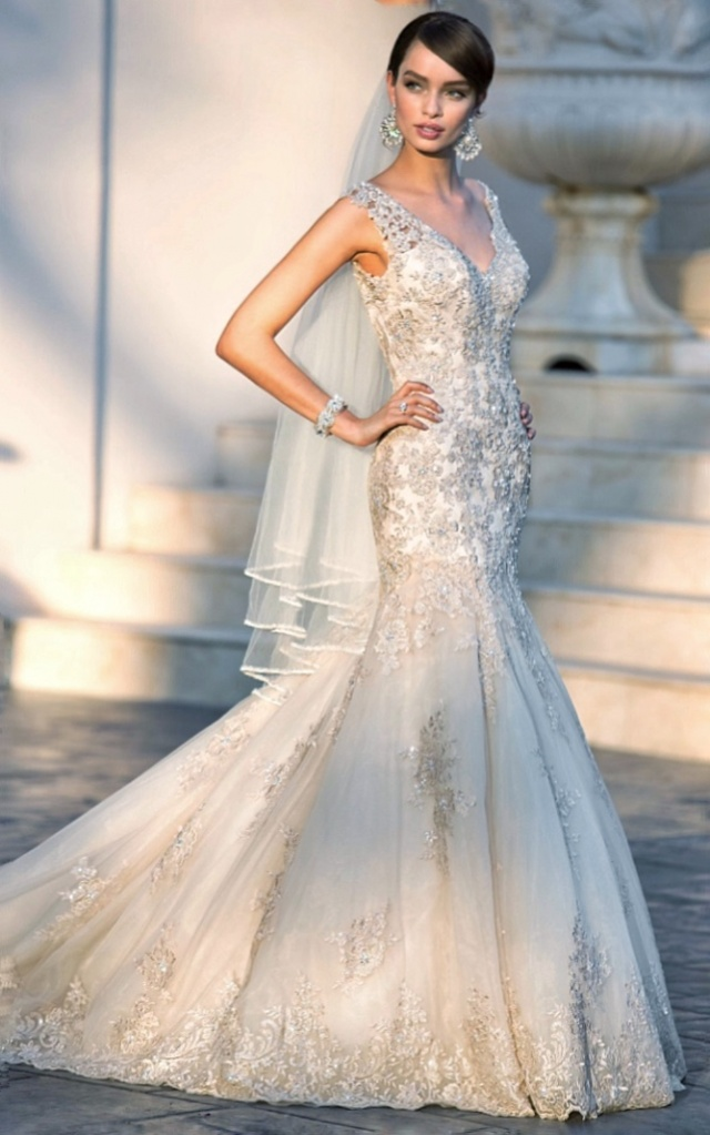 Mermaid, Sweetheart and Lace Wedding Dress M-2228