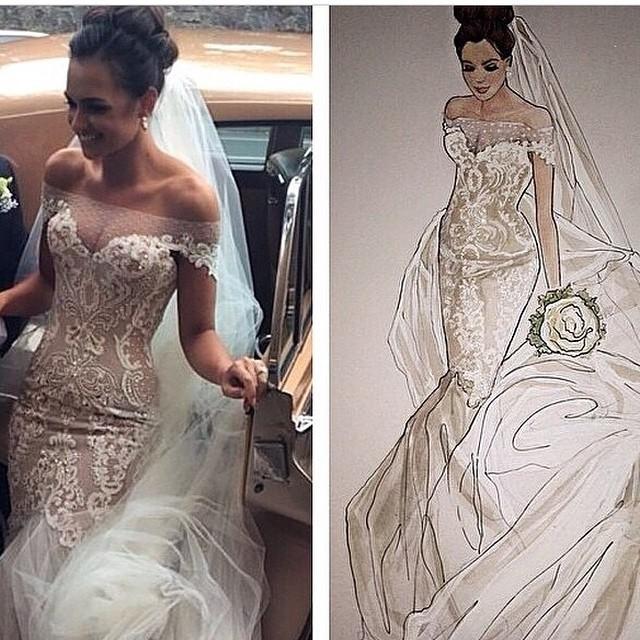 Mermaid and Low Shoulder Wedding Dress M-1241
