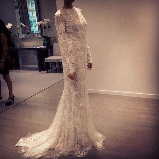 Sheath, Sleeves, Hijab and Lace Wedding Dress M-1278