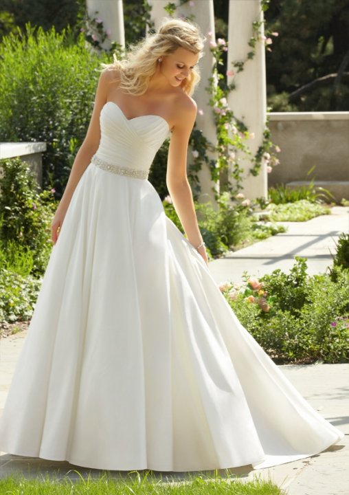 A-Line, Strapless Sweetheart and Simple Wedding Dress M-578