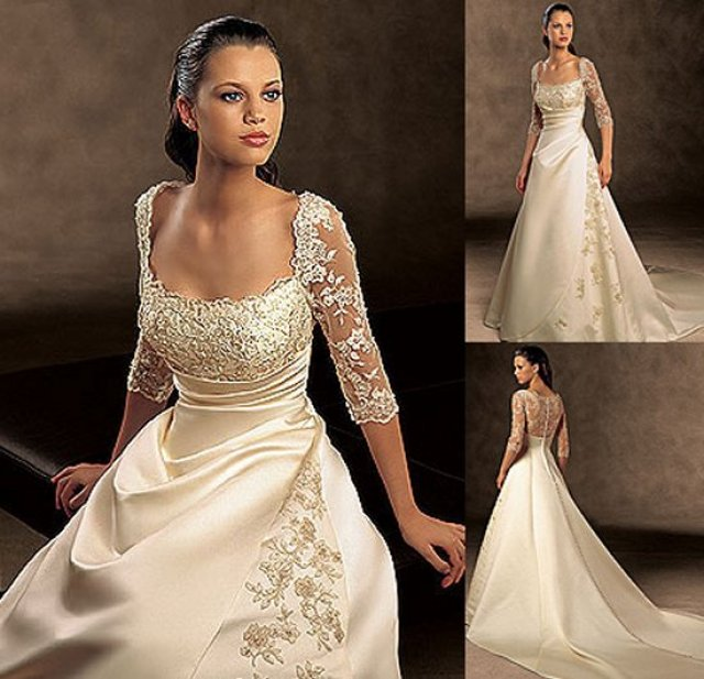 Sheath and Sleeves Wedding Dress M-756
