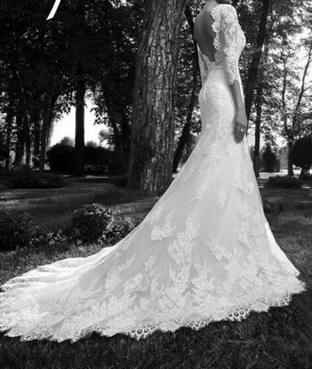 Mermaid, Lace and Backless, Lace Back, V Back, Back Details Wedding Dress M-924