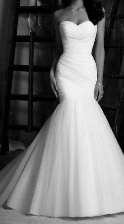 Meerjungfrau-Linie und Herz-Ausschnitt Brautkleid M-1080