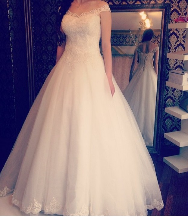 A-Line and Low Shoulder Wedding Dress M-1589