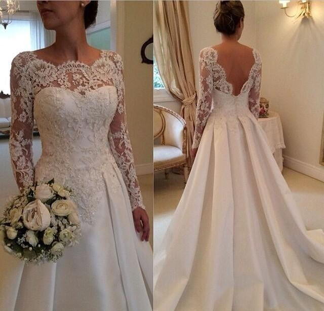 A-Line, Sleeves and Lace Wedding Dress M-1947