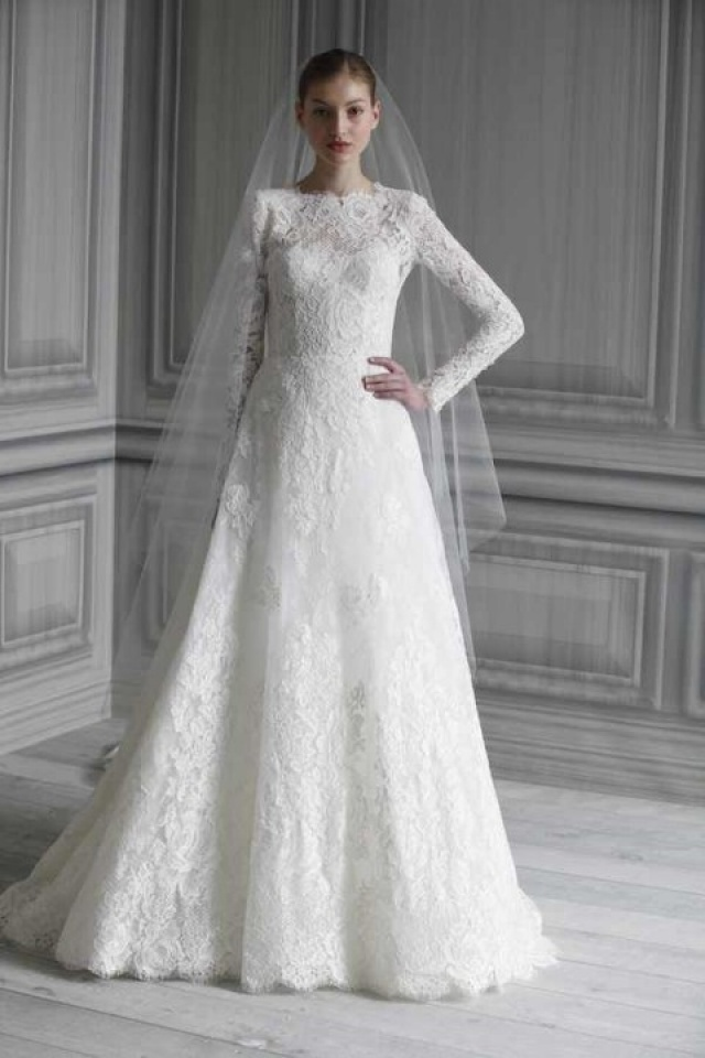 A-Line and Sleeves Wedding Dress M-2198