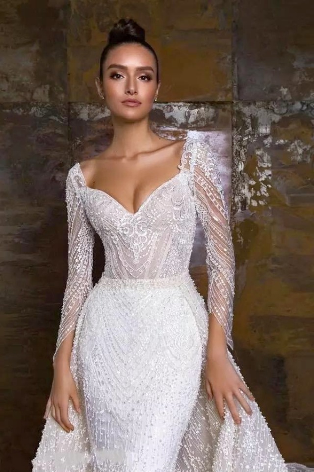 Sheath, Sleeves, 2020 and Strapless Sweetheart Wedding Dress M-2235